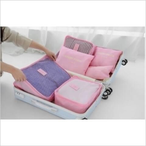 Travel Organizer Set (6 Pieces) - 3 Colors - Pink