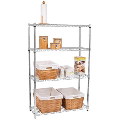 Chrome Plated Metal 4-Shelf Pantry Shelving