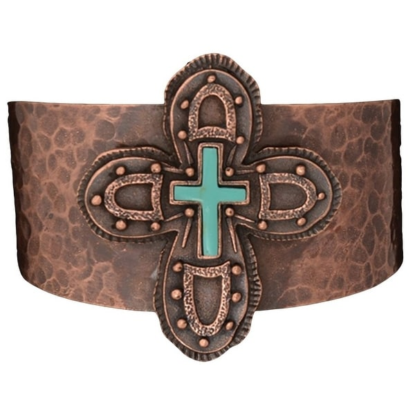 Angel Ranch Jewelry Womens Bracelet Cuff Hammered Cross Copper LB6007