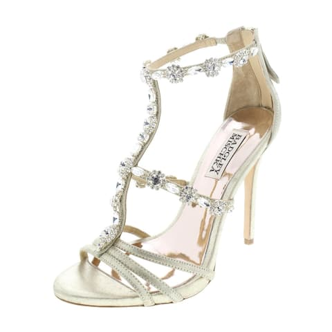 Badgley Mischka Womens Thelma Evening Sandals Suede Embellished