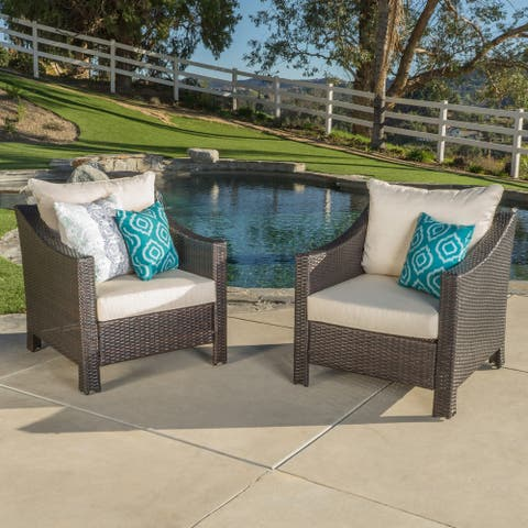 Antibes Outdoor Wicker Club Chair (Set of 2) by Christopher Knight Home