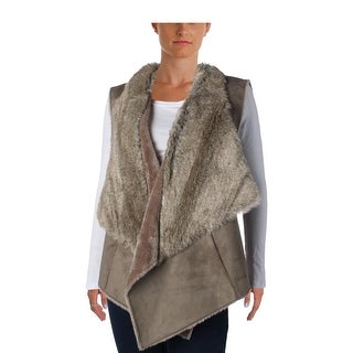 Nic + Zoe Womens Faux Suede Faux Fur Lined Casual Vest