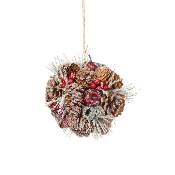 "6"" Eco Country Iced Pine Cone Apple Berry Christmas Ornament"