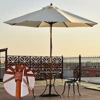 Costway Adjustable 10FT Wooden Umbrella Wood Pole Outdoor Patio Garden Sun Shade Beige