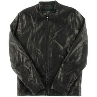 Perry Ellis Mens Faux Leather Outerwear Coat