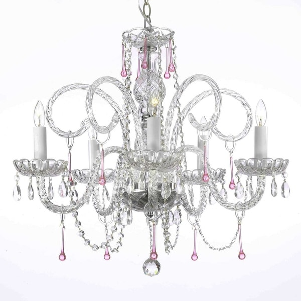 Pink Crystal Chandelier Lighting H25 x W24