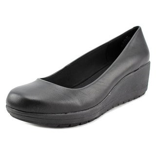 Easy Spirit e360 Clarita Women Open Toe Leather Black Wedge Heel