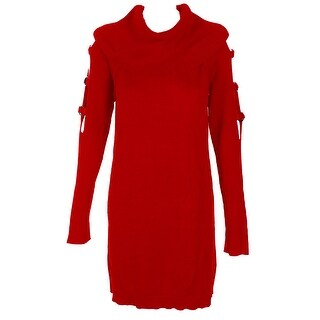 Inc International Concepts Red Grommet-Embellished Tunic Sweater M