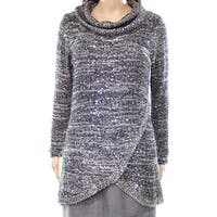 Belldini Gray Womens Size Large L Sequin Shimmer Cowl Neck Sweater