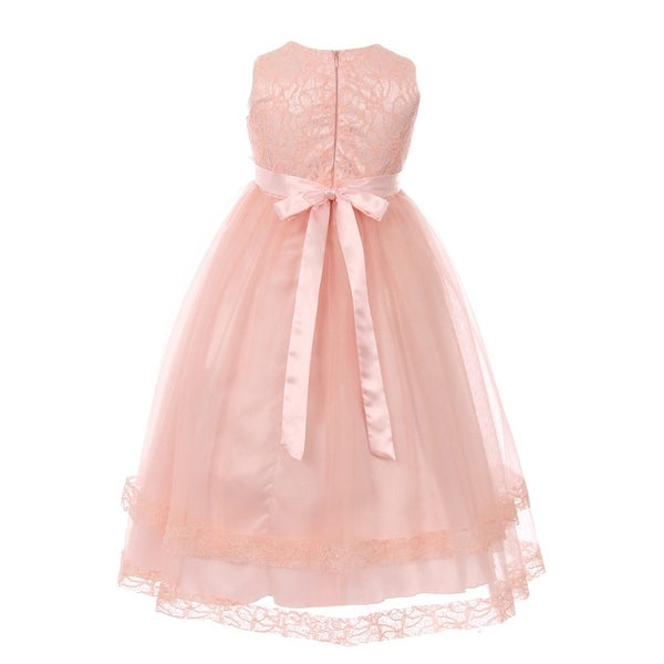 979fb40c7b86 Little Girls Pink Lace Trim Double Layered Tulle Flower Girl Dress 2-6