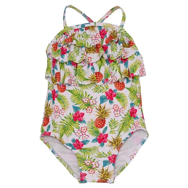 4c262e824e3b5 Shop Solo International Little Girls Multi Color Floral Print Ruffled  Swimsuit 6 - Free Shipping On Orders Over $45 - Overstock - 20768287