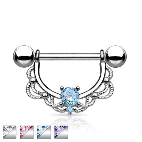CZ Center Filigree Drop Surgical Steel Nipple Ring (Sold Ind.)