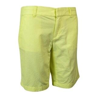 Tommy Hilfiger Women's Textured Dot Bermuda Shorts - Limelight