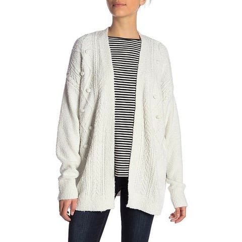 14th & Union Lily White Womens Size Large L Cable Knit Cardigan