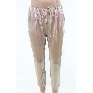 Know One Cares Gold Womens Size Medium M Shimmer Pants Stretch