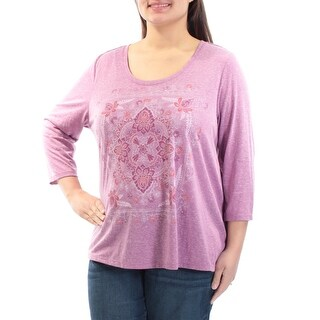 Womens Purple Floral 3/4 Sleeve Jewel Neck Casual Hi-Lo Top Size M