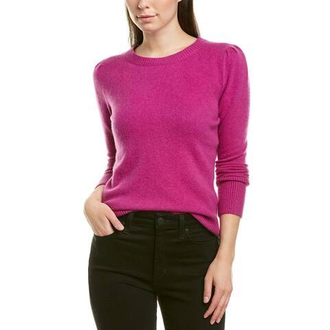 White + Warren Puff-Shoulder Sweater