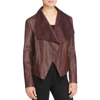 Bagatelle Womens Basic Jacket Asymmetric Faux Leather