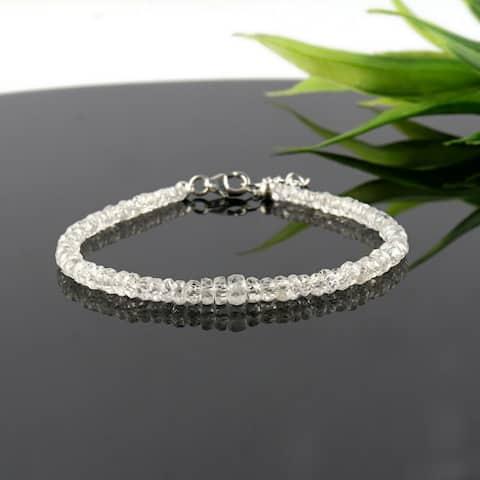 Natural White Zircon Gemstone Beaded Bracelet Sterling Sliver