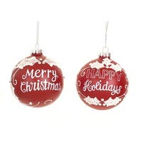 Pack of 6 Red and White Glass Ball Christmas Ornaments 4""