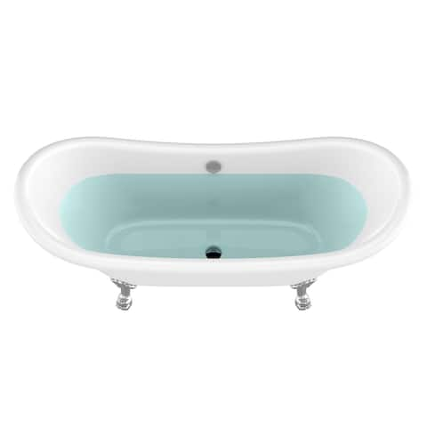 "Belissima 69.3"" White Acrylic Double Slipper Claw Foot Tub with Lion's Paw Feet"