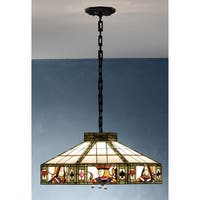 Meyda Tiffany 82117 Stained Glass / Tiffany Four Light Pendant from the Poker Collection - Mahogany Bronze