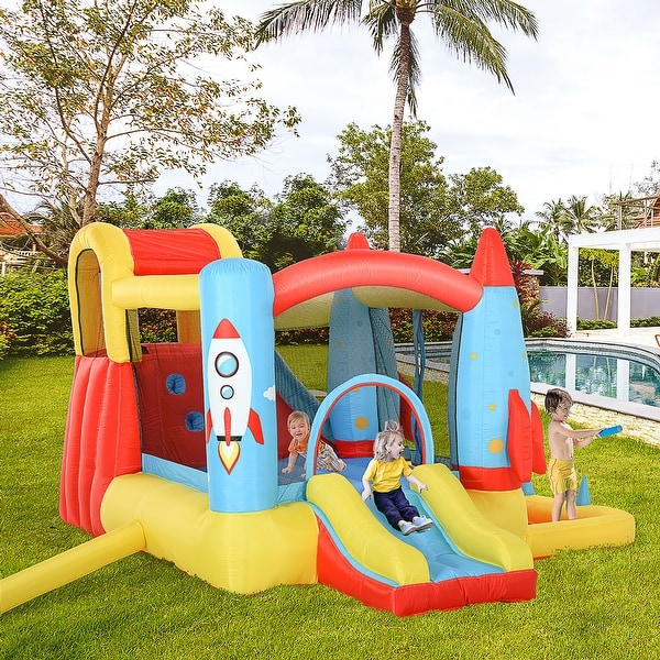 Outsunny 4-in-1 Kids Inflatable Bounce House Jumping Castle with 2 Slides, Climbing Wall, Trampoline, & Water Pool Area. Opens flyout.
