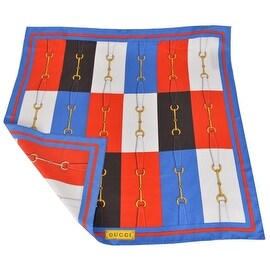 New Gucci Women's 367215 Blue Red White Horsebit Belt Silk Twill Neck Scarf