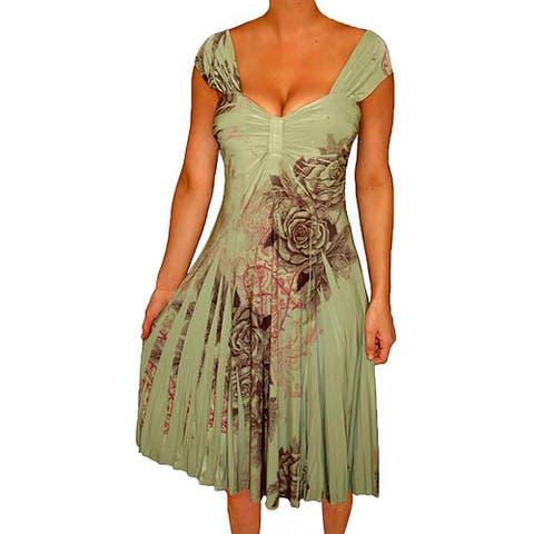 Funfash Plus Size Women Empire Waist Sage Green A Line Slimming Dres