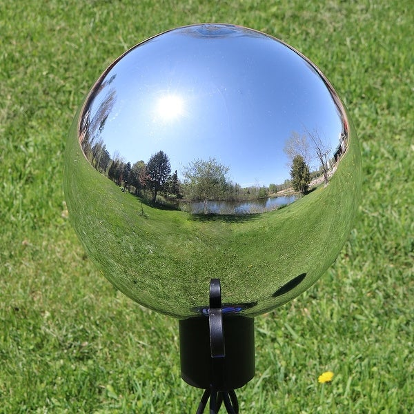 Sundlight Home Stainless Steel Gazing Globe Mirror Ball Colorful and Shiny Addition to Any Garden or Home Decorative Ball