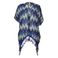 Miken Women's Chevron Lace-Fringe Kimono Cover-Up - new cobalt