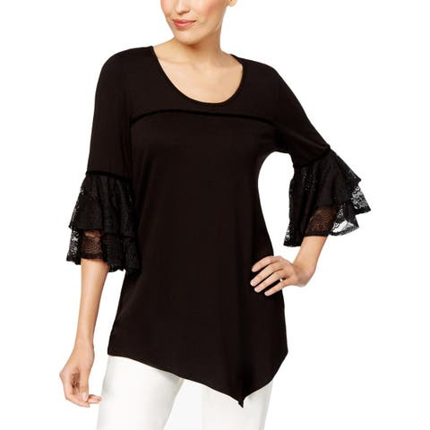 NY Collection Womens Pullover Top Lace Trim