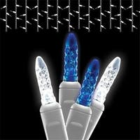 Icicle LED Light Strands - Blue and Pure White Full Wave with Whit