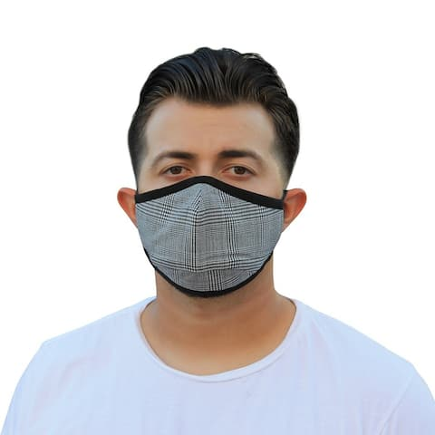 Men's Reusable Fashion Cloth Face Mask with Adjustable Straps, Buffalo Plaid