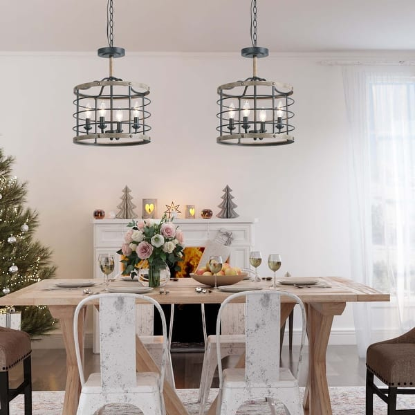 Modern Farmhouse 4 Lights Faux Wood Drum Foyer Pendant Chandelier For Dining Room D14 2 H17 3 Overstock 32157900