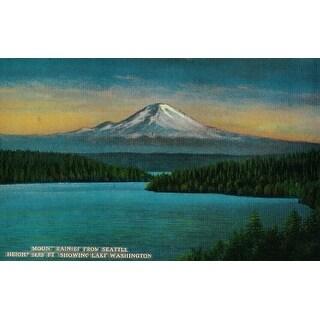 Mt. Rainier from Seattle, Washington - Vintage Halftone (Keepsake Tin)
