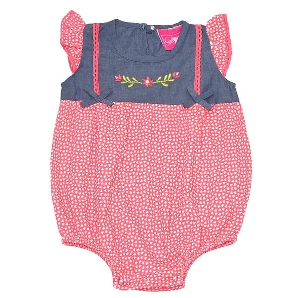 Baby Girls Orange Heart Print Floral Detail Snap Closure Bodysuit 6M