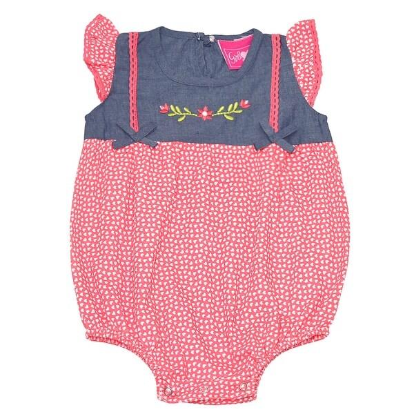 Baby Girls Orange Heart Print Floral Detail Snap Closure Bodysuit 9M