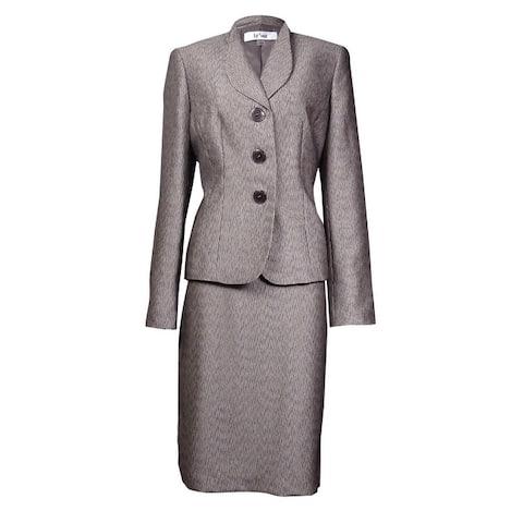 Le Suit Women's Monte Carlo Faux Bois Textured Skirt Suit