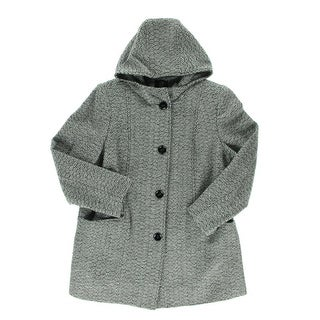 Gallery Womens Plus Coat Wool Blend Tweed