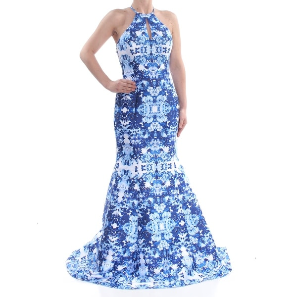 3ab5f948a2 XSCAPE Womens Blue Darted Rhinestone Open Back Floral Halter Full-Length  Mermaid Prom Dress Size: 6