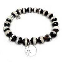 "Black & White Agate Star Disc Silver Charm Lucy 7"" Bracelet"