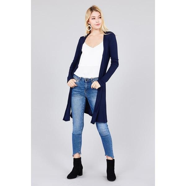Womens Lightweight Open Front Pocket Long Length Long Sleeve Rayon Spandex Cardigan