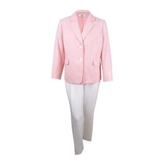 Le Suit Women's Plus Size Colorblocked Jacquard Pantsuit (20W, Blush/Ivory) - blush/ivory - 20W