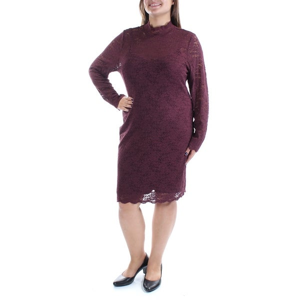 Shop Vince Camuto Womens Burgundy Lace Long Sleeve Turtle Neck Below