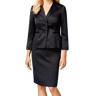 Le Suit NEW Solid Black Women's Size 4 Three Button Skirt Suit Set