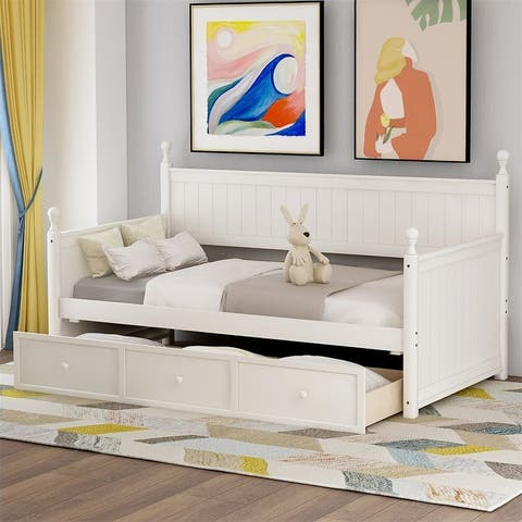 Merax Twin Wood Daybed with Three Drawers
