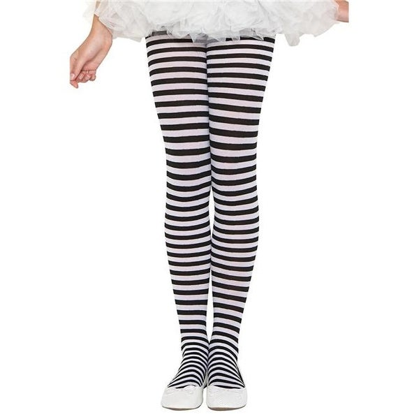 83d4e8f7c8c90 Shop 270-BLK-WHT-XL Girls Striped Tights, Black & White - Extra Large -  Free Shipping On Orders Over $45 - Overstock - 22955495