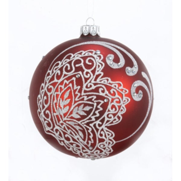 "Red Leaf Lace Design Glass Ball Christmas Ornament 4"" (100mm)"