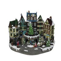 """15.5"""" LED Musical Animated Town Center Christmas Tree Table Top Decoration - multi"""